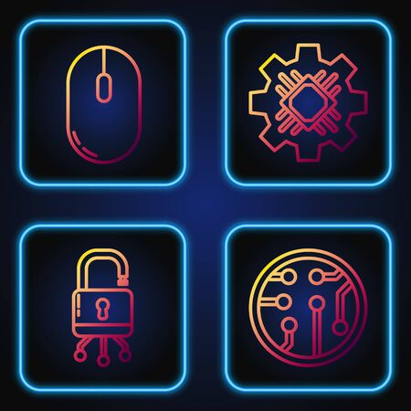 Set line Processor, Lock on digital circuit board, Computer mouse and Processor. Gradient color icons. Vector
