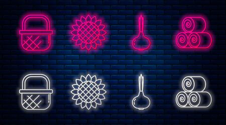Set line Sunflower, Onion, Shopping basket and Roll of hay. Glowing neon icon on brick wall. Vector