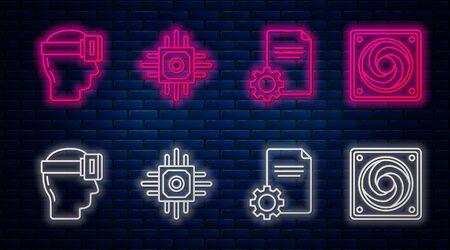 Set line Processor, File document, Virtual reality glasses and Computer cooler. Glowing neon icon on brick wall. Vector
