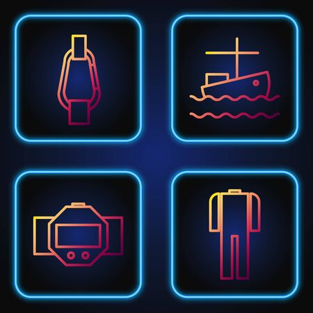 Set line Wetsuit for scuba diving, Diving watch, Carabiner and Fishing boat on water. Gradient color icons. Vector