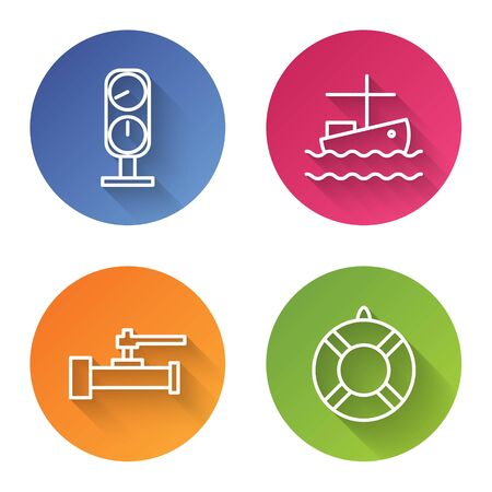 Set line Gauge scale, Fishing boat on water, Industry metallic pipes and valve and Lifebuoy. Color circle button. Vector