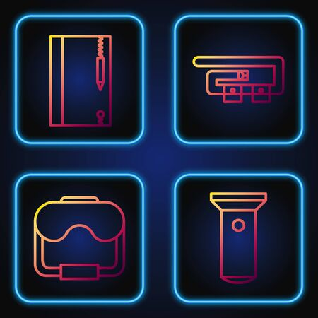 Set line Flashlight, Diving mask, Underwater note book and pencil and Diving belt. Gradient color icons. Vector