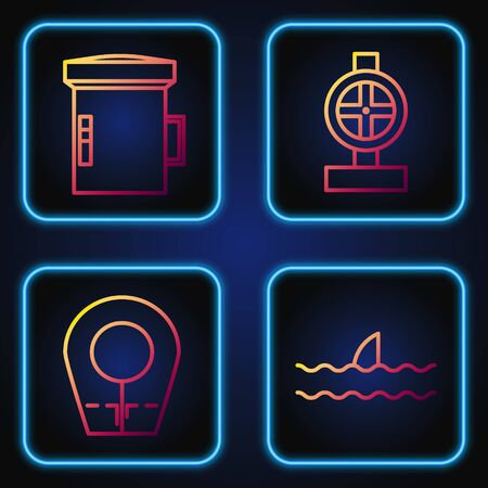 Set line Shark fin in ocean wave, Diving hood, Big flashlight for diver and Industry metallic pipes and valve. Gradient color icons. Vector Ilustração
