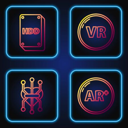 Set line Ar, augmented reality, Processor, Hard disk drive HDD and Virtual reality. Gradient color icons. Vector