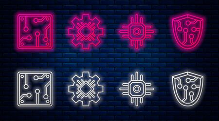 Set line Processor, Processor, Processor and Cyber security. Glowing neon icon on brick wall. Vector