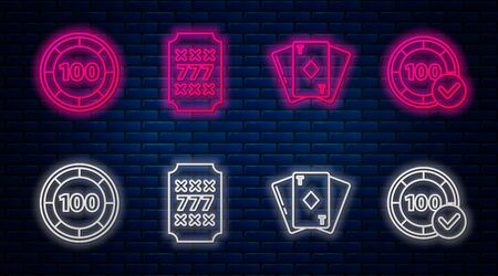 Set line Slot machine with lucky sevens jackpot, Playing card with diamonds, Casino chips and Casino chips. Glowing neon icon on brick wall. Vector Çizim
