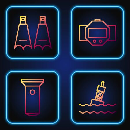Set line Floating buoy on the sea, Flashlight, Rubber flippers for swimming and Diving watch. Gradient color icons. Vector