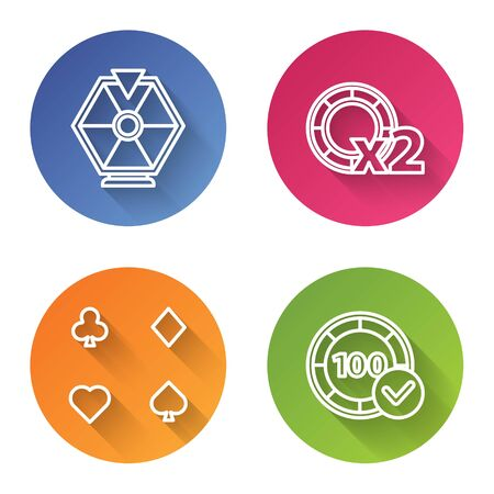 Set line Lucky wheel, Casino chips, Playing cards and Casino chips. Color circle button. Vector