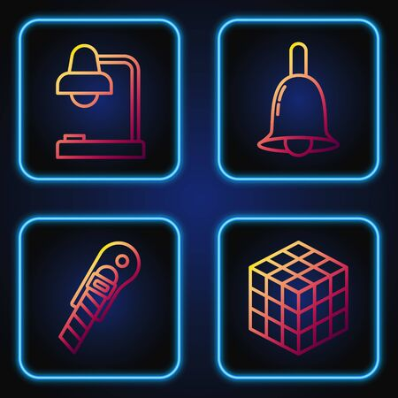 Set line Rubik cube, Stationery knife, Table lamp and Ringing bell. Gradient color icons. Vector Illustration
