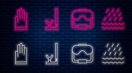 Set line Snorkel, Diving mask, Gloves and Rain and waves. Glowing neon icon on brick wall. Vector