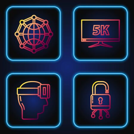 Set line Lock on digital circuit board, Virtual reality glasses, Global technology or social network and Monitor display with 5k video. Gradient color icons. Vector Ilustrace