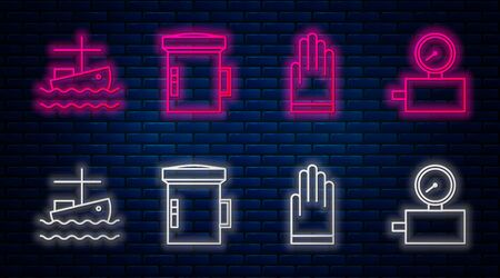 Set line Big flashlight for diver, Gloves, Fishing boat on water and Gauge scale. Glowing neon icon on brick wall. Vector