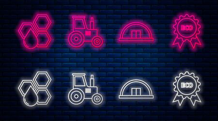 Set line Tractor, Hangar, Honeycomb and Banner, label, tag for eco. Glowing neon icon on brick wall. Vector