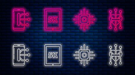 Set line Tablet with text 5k, Processor, Smartphone, mobile phone and Processor. Glowing neon icon on brick wall. Vector Ilustrace