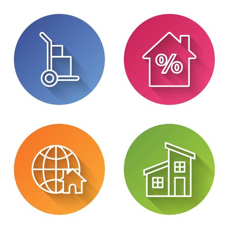Set line Hand truck and boxes, House with percant discount tag, Globe with house symbol and House. Color circle button. Vector Ilustrace