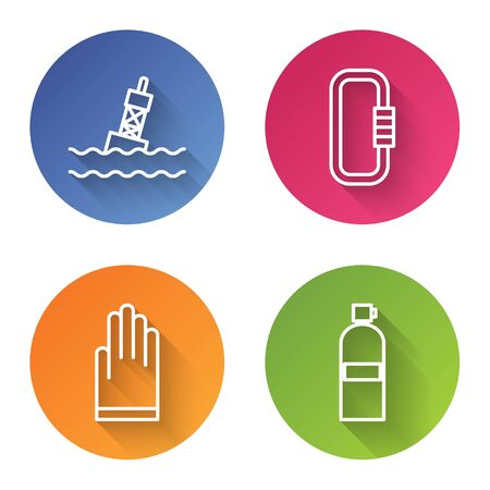 Set line Floating buoy on the sea, Carabiner, Gloves and Aqualung. Color circle button. Vector