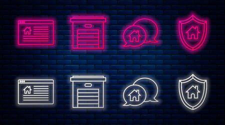 Set line Garage, House building in speech bubble, Hanging sign with text Online Sale and House with shield. Glowing neon icon on brick wall. Vector