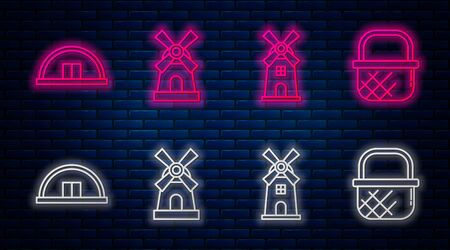 Set line Windmill, Windmill, Hangar and Shopping basket. Glowing neon icon on brick wall. Vector