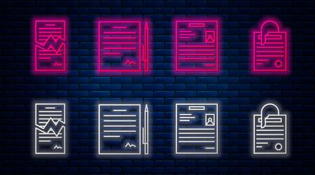Set line Contract with pen, Personal document, Torn contract and File document and paper clip. Glowing neon icon on brick wall. Vector