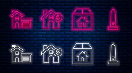 Set line House with dollar symbol, Cardboard box with house, House and Washington monument. Glowing neon icon on brick wall. Vector