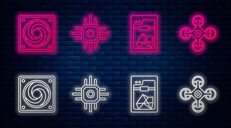Set line Processor, 3D printer, Computer cooler and Drone. Glowing neon icon on brick wall. Vector