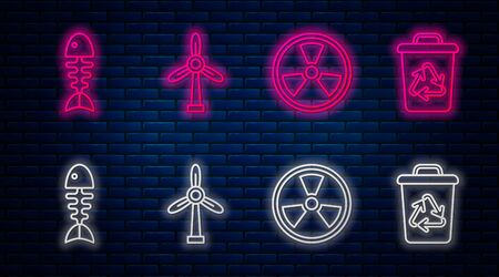 Set line Wind turbine, Radioactive, Fish skeleton and Recycle bin with recycle symbol. Glowing neon icon on brick wall. Vector 일러스트