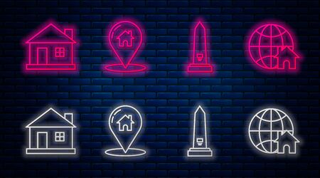 Set line Map pointer with house, Washington monument, House and Globe with house symbol. Glowing neon icon on brick wall. Vector
