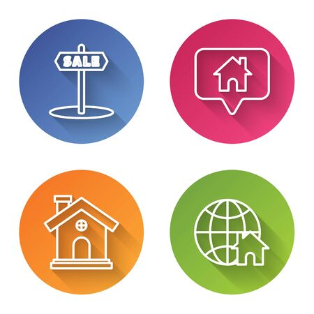 Set line Hanging sign with text Sale, Map pointer with house, House and Globe with house symbol. Color circle button. Vector