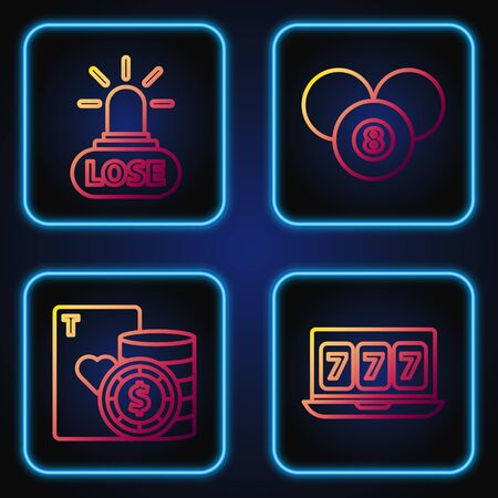 Set line Online slot machine with lucky sevens jackpot, Casino chip and playing cards, Casino losing and Billiard pool snooker 8 ball. Gradient color icons. Vector