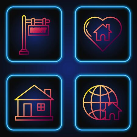 Set line Globe with house symbol, House, Hanging sign with text Rent and House with heart shape. Gradient color icons. Vector Ilustrace