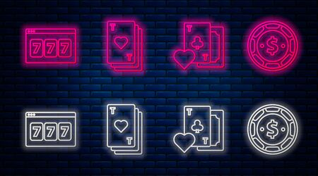 Set line Playing card with heart, Playing card with clubs symbol, Online slot machine with lucky sevens jackpot and Casino chip with dollar. Glowing neon icon on brick wall. Vector