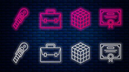Set line Briefcase, Rubik cube, Stationery knife and Certificate template. Glowing neon icon on brick wall. Vector Ilustracja