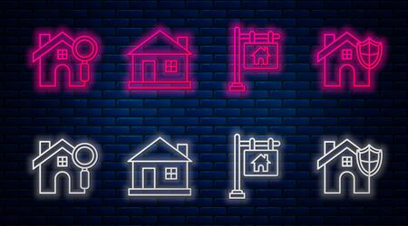Set line House, Hanging sign with text Sale, Search house and House with shield. Glowing neon icon on brick wall. Vector