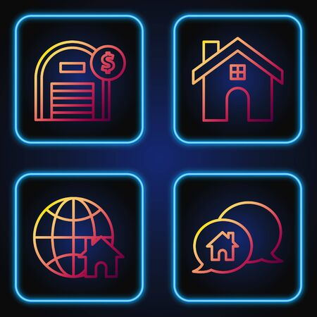 Set line House building in speech bubble, Globe with house symbol, Warehouse with dollar symbol and House. Gradient color icons. Vector