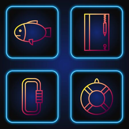 Set line Lifebuoy, Carabiner, Fish and Underwater note book and pencil. Gradient color icons. Vector Ilustração