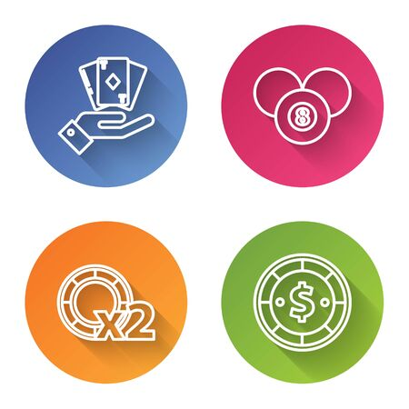 Set line Hand holding deck of playing cards, Billiard pool snooker 8 ball, Casino chips and Casino chip with dollar. Color circle button. Vector