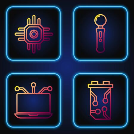 Set line Video graphic card, Laptop, Processor and Gamepad. Gradient color icons. Vector