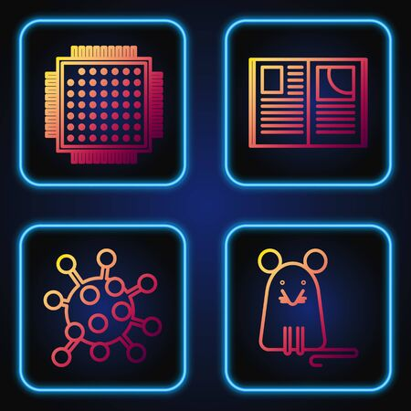 Set line Rat, Bacteria, Processor and Open book. Gradient color icons. Vector
