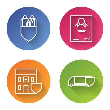 Set line Family insurance with shield, Certificate template, Medical hospital building with shield and Delivery cargo truck with shield. Color circle button. Vector Ilustrace