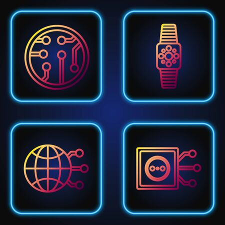 Set line Remote control, Global technology or social network, Processor and Smartwatch. Gradient color icons. Vector
