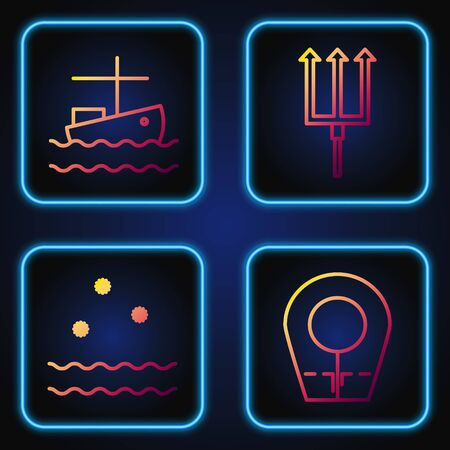 Set line Diving hood, Cold and waves, Fishing boat on water and Neptune Trident. Gradient color icons. Vector