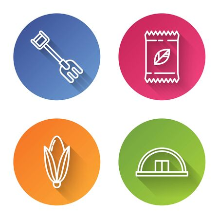 Set line Garden rake, A pack full of seeds of a specific plant, Corn and Hangar. Color circle button. Vector