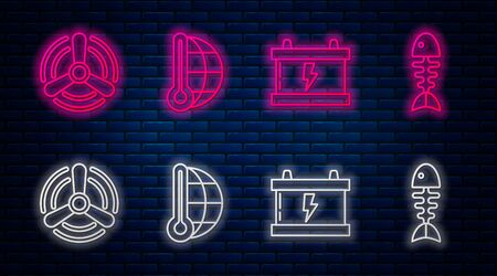Set line Meteorology thermometer measuring, Car battery, Wind turbine and Fish skeleton. Glowing neon icon on brick wall. Vector 일러스트