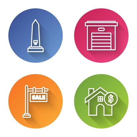 Set line Washington monument, Garage, Hanging sign with text Sale and House with dollar symbol. Color circle button. Vector