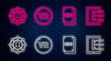 Set line Virtual reality, Hard disk drive HDD, Project team base and Tablet. Glowing neon icon on brick wall. Vector Ilustração
