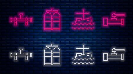 Set line Aqualung, Fishing boat on water, Manifold and Industry metallic pipes and valve. Glowing neon icon on brick wall. Vector Stock Illustratie