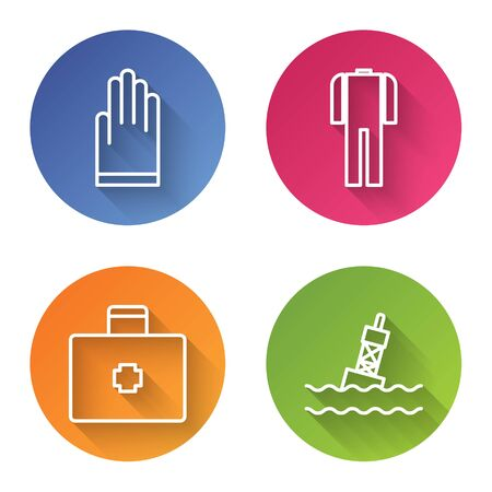 Set line Gloves, Wetsuit for scuba diving, First aid kit and Floating buoy on the sea. Color circle button. Vector