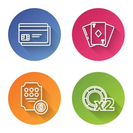 Set line Credit card, Playing card with diamonds, Online slot machine and Casino chips. Color circle button. Vector