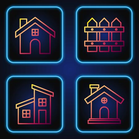 Set line House, House, House and Garden fence wooden. Gradient color icons. Vector