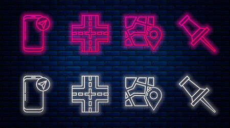 Set line Road traffic sign, Folded map with location marker, Infographic of city map navigation and Push pin. Glowing neon icon on brick wall. Vector